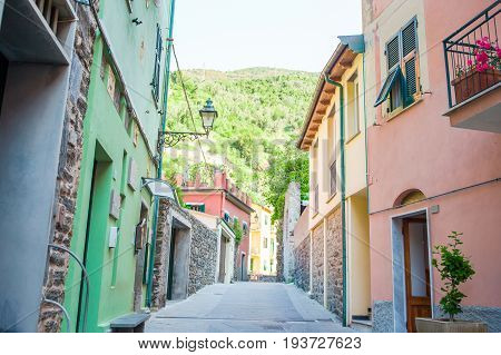 Old beautiful empty narrow streets in small city of Monterosso