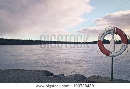 Beautiful winter/autumn specific photograph. Vegetation together with marine/water environment. Great lights and colors. Strömbäcks Båtklubb, Sweden.