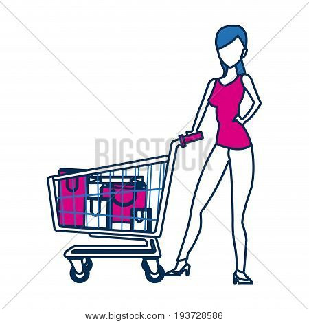 woman with shopping cart paper bag gift vector illustration