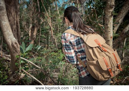Beautiful Sweet Woman Hiker Looking At Nature
