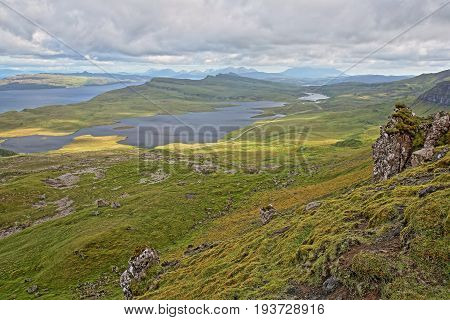 General view from The Storr with Loch Leathan and Loch Fada, Isle of Skye, Highlands, Scotland, UK
