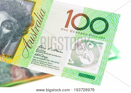 Close up of 100 Australian dollar banknote