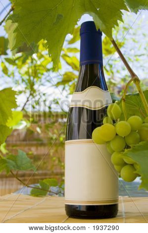 Wine Bottle And Grapes.
