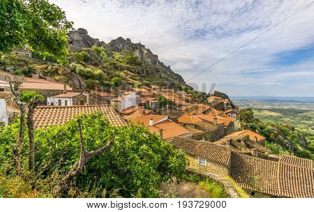 MONSANTO,PORTUGAL - MAY 16,2017 - View at the roofs of Monsanto village in Portugal. Monsanto has become popularly known as