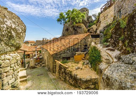 MONSANTO,PORTUGAL - MAY 16,2017 - View to streets of Monsanto village in Portugal. Monsanto has become popularly known as
