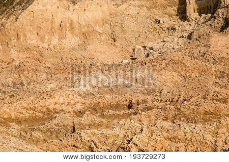 Clay And Sand In The Quarry. Beautiful Unusual Background Similar To The Surface Of The Planet Mars