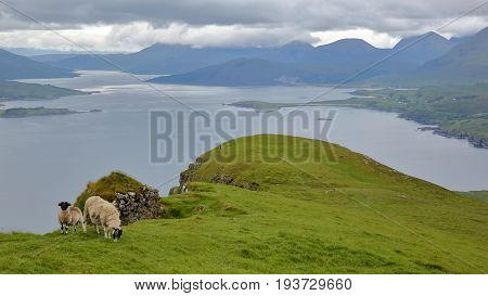 View from the mountain Ben Tianavaig towards the An Aird peninsula and the South, Isle of Skye, Highlands, Scotland, UK