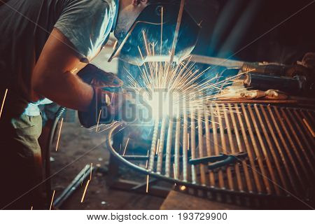 Welding Work. Erecting Technical Steel Industrial Steel Welder In Factory. Craftsman.