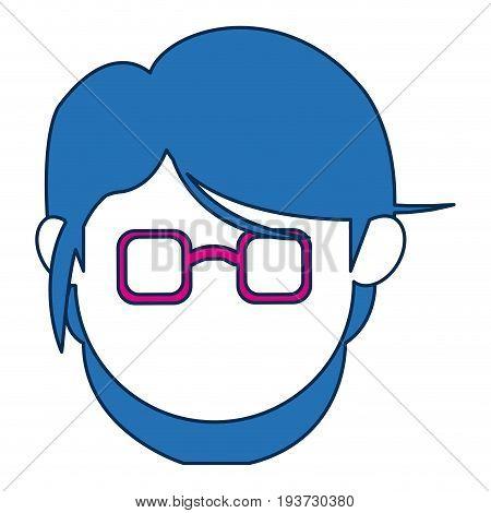 avatar female face wear fuchsia glasses vector illustration