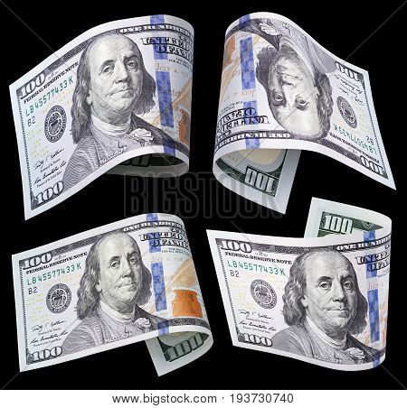 Set of flying hundred dollar banknotes isolated on black background with clipping path