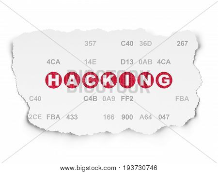 Protection concept: Painted red text Hacking on Torn Paper background with  Hexadecimal Code
