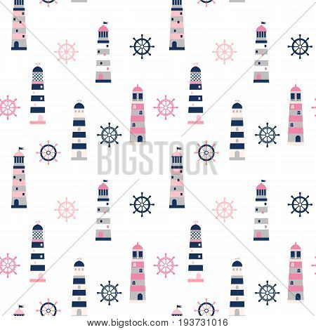 Simple minimal vector pattern with lighthouses and helm in blue grey and pink colors for clothing packaging and summer designs