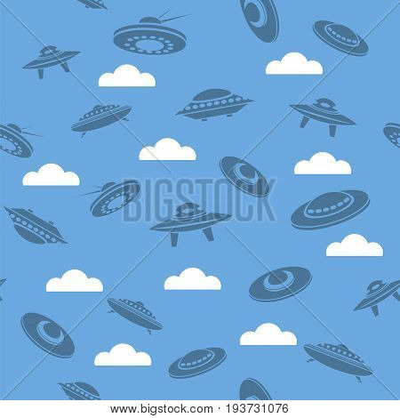 Space Ship Silhouettes Seamless Pattern on Blue Sky Background