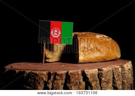 Afghanistan Flag On A Stump With Bread Isolated