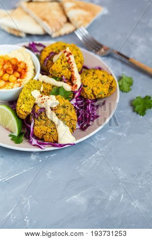 Baked falafel with hummus vegetables and pita. Love for a healthy vegan food concept.