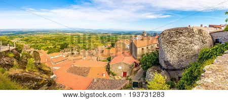 Panoramic view at the stones and roofs of Monsanto village in Portugal