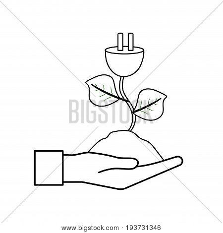 line hand with power cable plant with leaves and ground vector illuctration