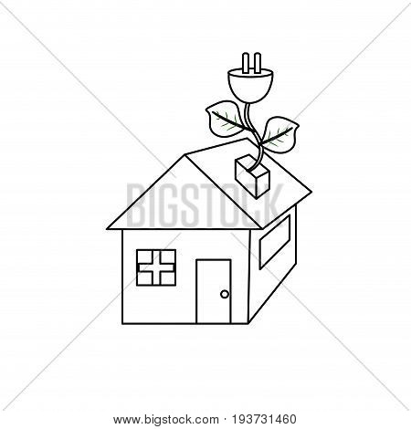 line house with power cable with leaves to reduce energy vector illustration