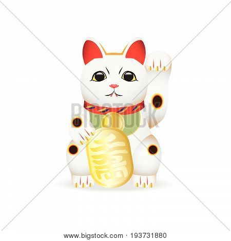 White lucky cat doll called MANEKI NEKO, Japanese traditional lucky doll. Vector illustration.