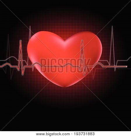 Red heart shape with red cardiograph on black background. A concept for world heart day. Vector illustration.