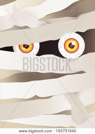 Mummy's face with big vein eye. Vector illustration for Halloween festival.