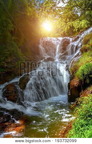 Falls of the mountain river and jungle. Лучь the sun appear through green foliage of a tree