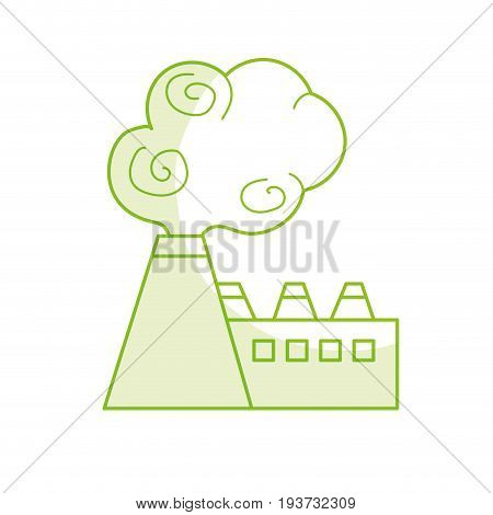 silhouette industrial factory pollution with toxic pollution vector illustration