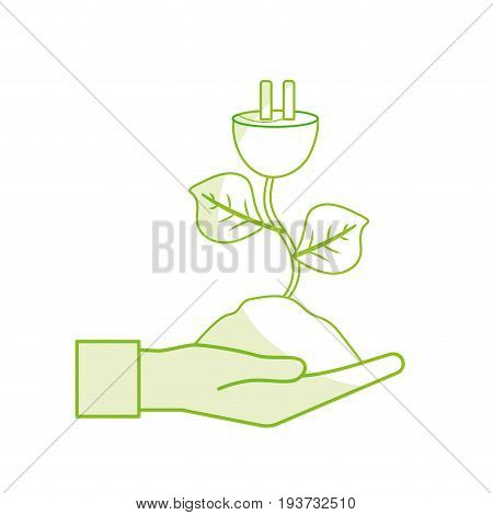 silhouette hand with power cable plant with leaves and ground vector illuctration