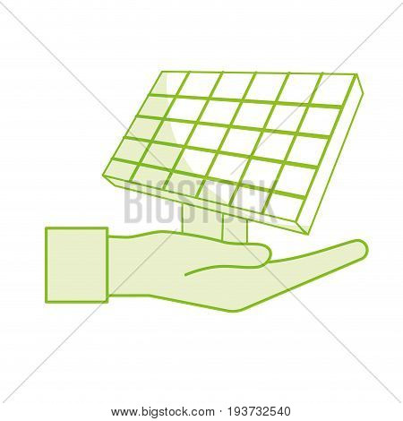 silhouette hand with solar energy element to reuse energy vector illustration
