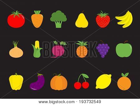Vegetable fruit berry icon set Pear strawberry banana pineapple grape apple cherry lemon orange. Pepper tomato carrot broccoli onion sweet corn beet eggplant aubergine pumpkin Vector