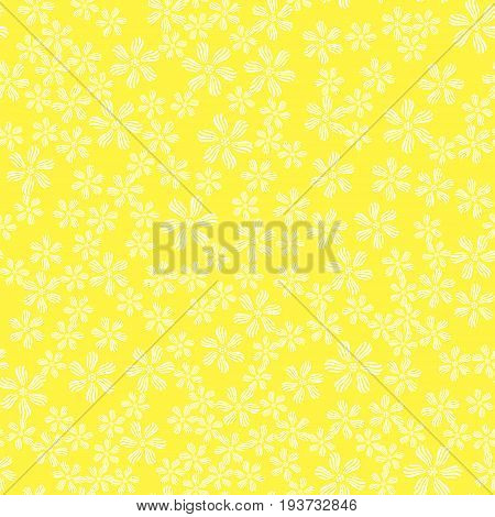 White Flower Seamless Pattern Isolated on Spring Yellow Background