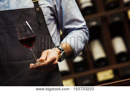 Male sommelier holds bokal with red elite wine in hand on background of shelves with expensive alcoholic drinks