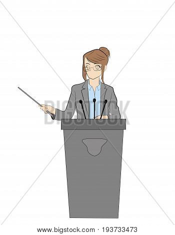 Politician woman standing behind rostrum and giving a speech. Vector illustration