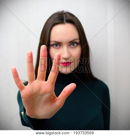 Girl Holding Hand Like Sign No. Negation, Discrimination, Violence Concept.