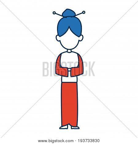 chinese woman character avatar of orange and white kimono vector illustration