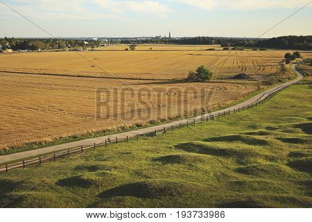Beautiful summer season specific photograph. Summer fields and road/pathwalk. Photo showing a city center in the far horizon. Uppsala Högar, Uppland, Sweden.