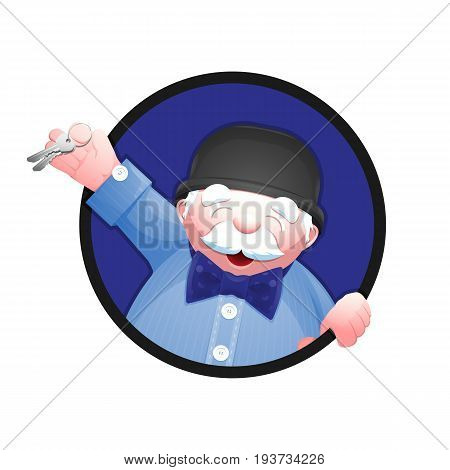 Cartoon portrait of a real estate agent. Cheerful senior man in bowler hat and bow tie is holding a house key in his hand. Vector illustration isolated on white background.