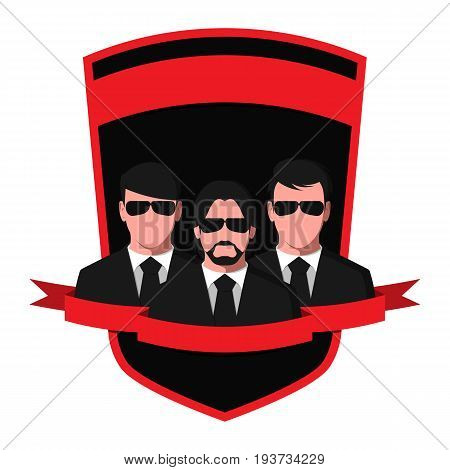 Silhouettes of people in black suits and glasses. Emblem of a detective agency isolated on white background. Spy team flat vector illustration.