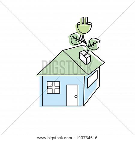 house with power cable with leaves to reduce energy vector illustration