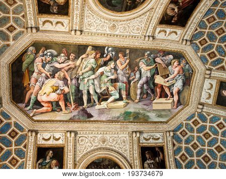 MANTUA ITALY - MAY 2 2016: Palazzo Te in Mantua is a major tourist attraction. The palace was built in the mannerist architectural style for Federico II Gonzaga Marquess of Mantua. Italy