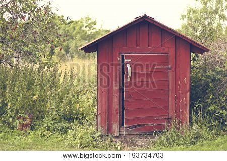Beautiful summer season specific photograph. Small house/cabin/shed together with rich green vegetation and a lovely summer meadow/paddock/park. Lovely lights and summer colors. Summer environment.