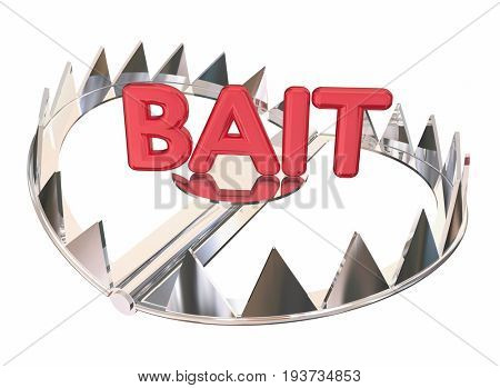 Bait Word Steel Bear Trap Lure Prey 3d Illustration