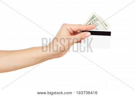 Twenty Dollars With Credit Card In The Woman's Hand, Isolated