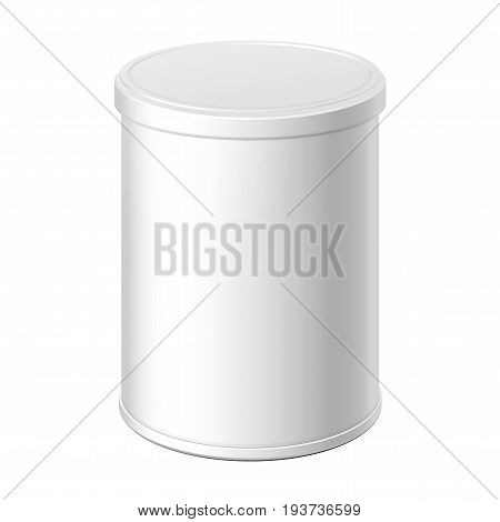White can with a lid. Packing for coffee or loose products. Template For Mock up Your Design. vector illustration.