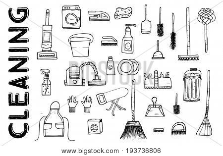 Cleaning Tools. Cleaning service. Cleaning supplies Isolated on White Background. Hand Drawn Cleaning products.