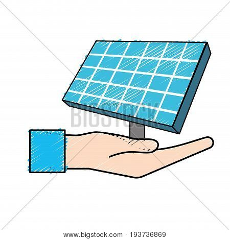 hand with solar energy element to reuse energy vector illustration