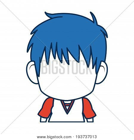 boy anime male manga cartoon comic blue hair vector illustration