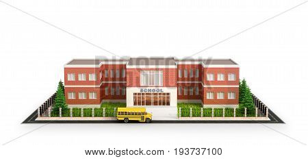 School building bus and front yard of the school building. Isolated on white background. 3d illustration