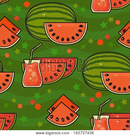 Seamless pattern with cute watermelons with seeds. Vector illustration of watermelon, watermelon slices, juice on green background. Design for greeting card and invitation of seasonal summer holiday.