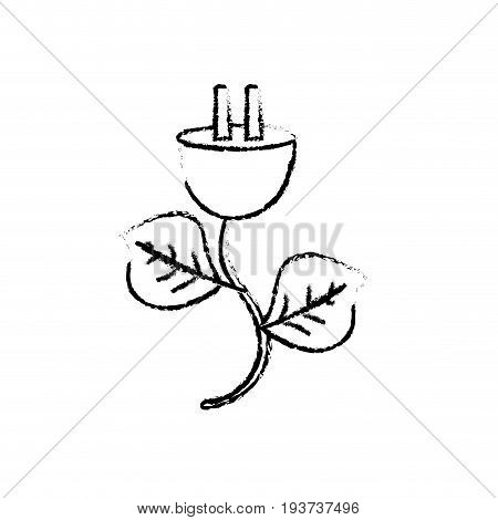 figure power cable with leaves to environment care vector illustration